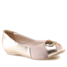 Sapatilha Peep Toe Comfort Flex 17-76305 Ouro