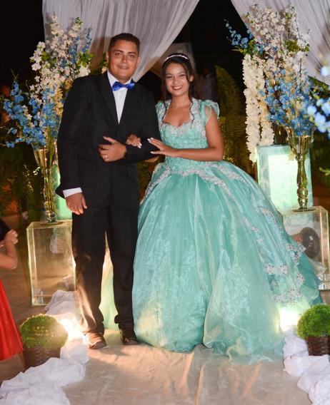 Vestido Princesa De 15 Anos Em Azul Tiffany