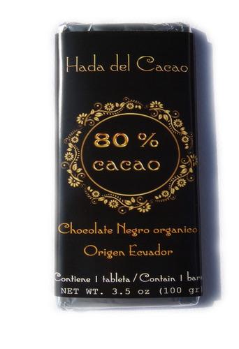 Imagen 1 de 5 de Chocolate De 100 Gr 80% Cacao Diabeticos Celiacos Keto Vegan