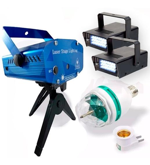 Kit Iluminação Festa Com Laser 2 Strobo Bola Maluca Led 220v