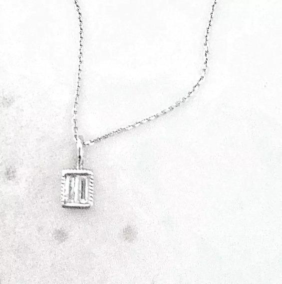 Collar Con Diamantes Baguette 40cm Oro Blanco 10k
