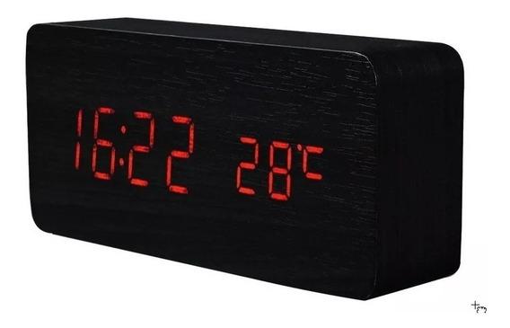 Relógio De Mesa Estilo Madeira Retrô Com Alarme Temperatura