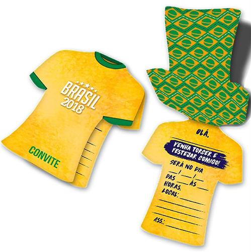 Imagem 1 de 2 de Convite Camisa Tema Copa 2018 Brasil 08 Unidades Frete 9,90