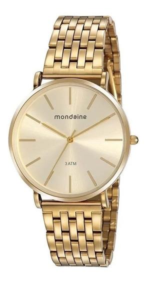 Relógio Dourado Feminino Mondaine 76736lpmvde2 Nfe/original