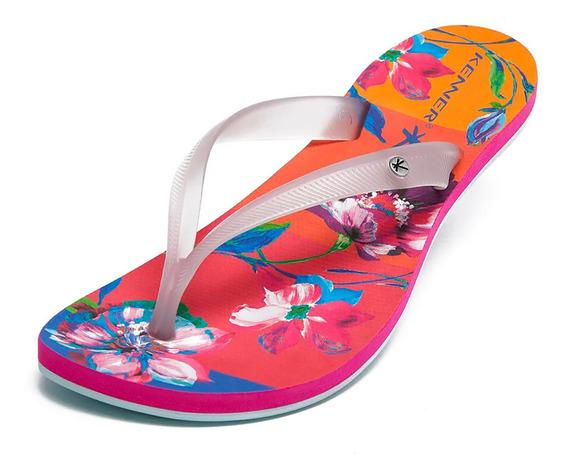 Sandália Kenner Lips Ibiza Floral Pop - Rosa E Cinza