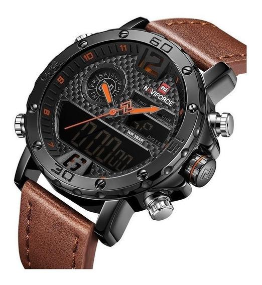 Relógios Masculinos Naviforce Nf9134 Em Couro Adultos Laranj