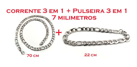 Kit Exclusivo Corrente Masculina Aço 3x1+pulseira 3x1 Top