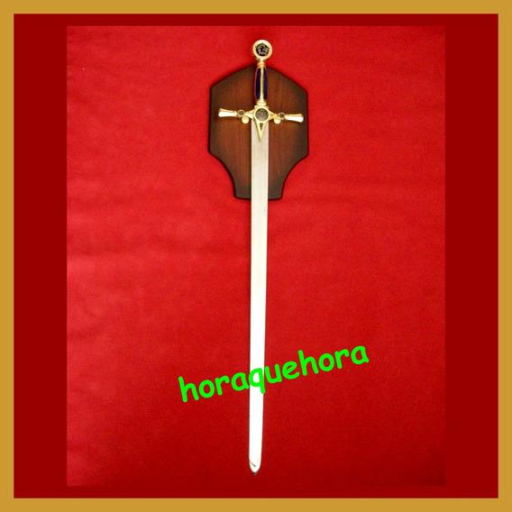 Espada Medieval - Masonería - Con Exhibidor De Pared