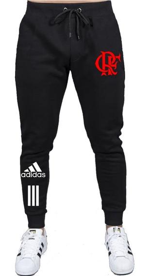 Calça Moletom De Frio Slim Flamengo Futebol Esporte Casual