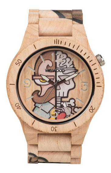 Relógio De Madeira Wewood Alpha Misterphil Beige - Wwa06