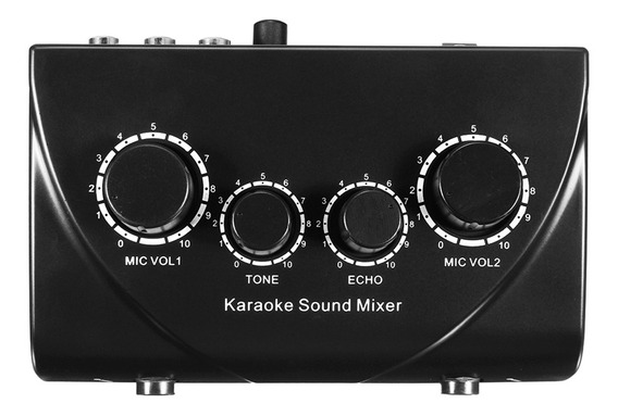 Profissional Mini Karaoke Audio Mixer Entradas Dual Mic Com