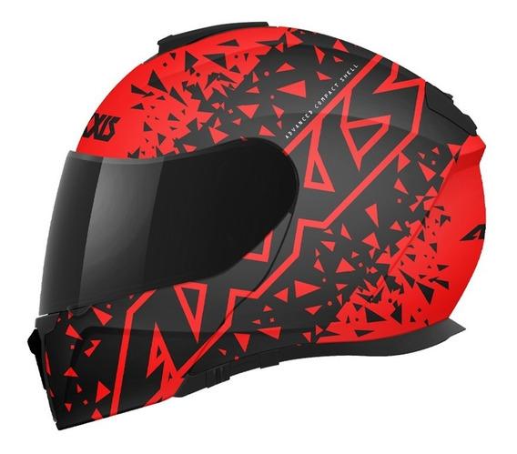 Casco Abatible Axxis Gecko Stamp B5 Dot Ece 2205 Negro/rojo
