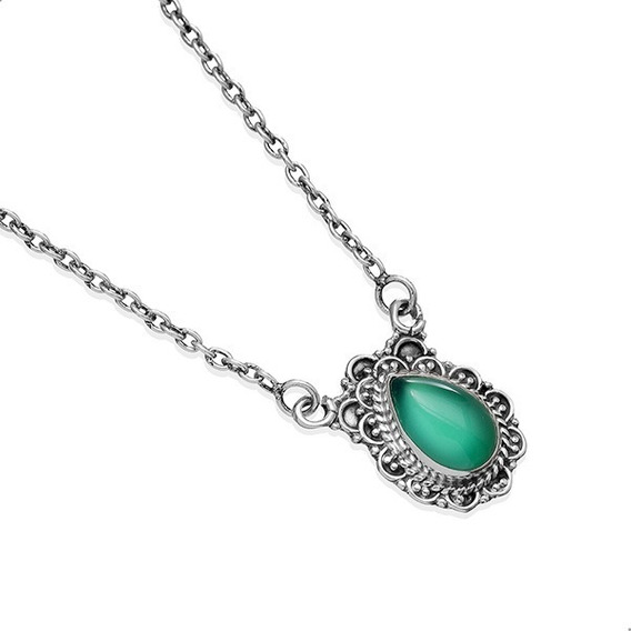 Colar Quartzo Verde, 40 Cm Prata 925. India - 61913292