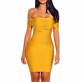 Vestido Bandage Faja Amarillo