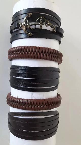 Kit Com 5 Pulseiras De Couro Vário Modelos