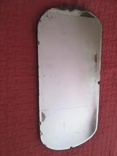 Espejo Antiguo Biselado Soporte De Madera Noble