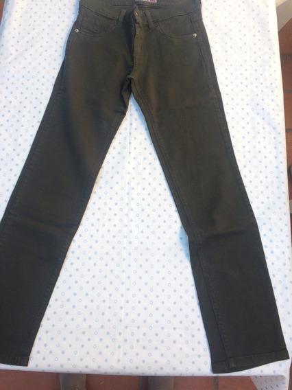 Jean Pantalon Mujer Elastizado Verde Recto Talle 42 0 44