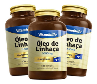 3x Flaxseed Oil Óleo De Linhaça 1000mg 100 Cáps Vitaminlife