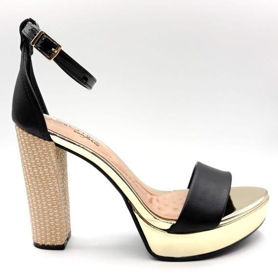 Sandálias Femininas Salto Alto Grosso Confort 12x Sem Juros