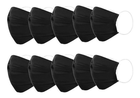 Facebug Cubrebocas 10 Pzas Tela Unicapa Plisado Negro