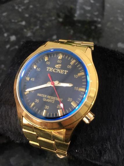Relógio Tecnet Sky Diver Dourado Masculino