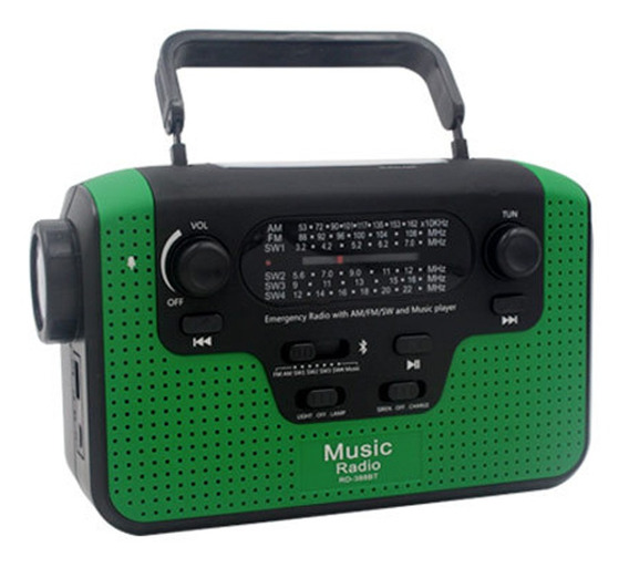 Rádio Multifuncional Fm Fm / Am / Sw Manivela De Rádio Solar