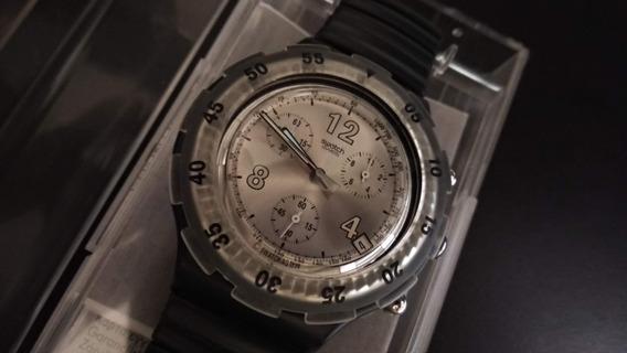 Relógio Swatch Irony Preto Elástico Com Caixa E Frete Gratis