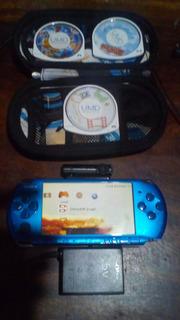 Psp 3001 Portátil Azul Chipeado Con Cámara