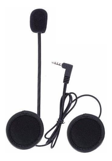 01 Kit Fones Microfone Intercom V6 Comunicador Capacete