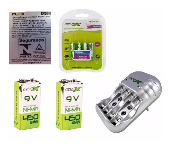 Carregador Baterias Kit C/ 2 Baterias 9v + 4 Palito Flexgold