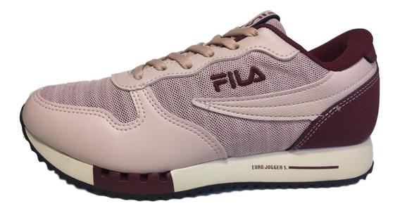 Tênis Fila Feminino Euro Jogger Sport 825867 - 874938 Rosa - Vinho E Bege
