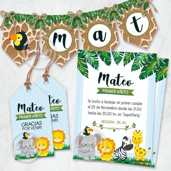 Kit Imprimible Animales Selva Jungla Safari. Cumple Candybar