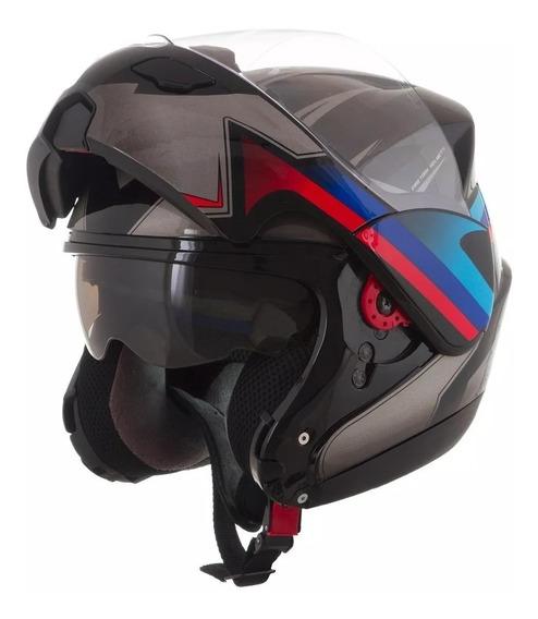 Capacete Attack Articulado Robocop Monocolor Fosco Preto 58