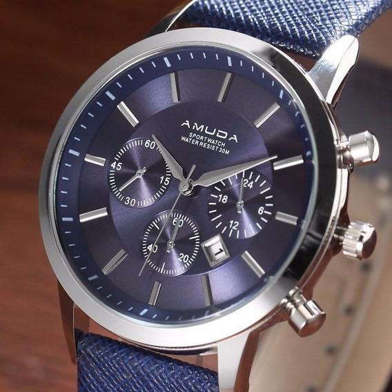 Relógio Amuda Masculi Pulso Luxo Barato A Prova De Água 30 M