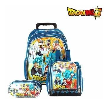 Kit Mochila Escolar Infantil Dragon Ball Super Com Rodinha