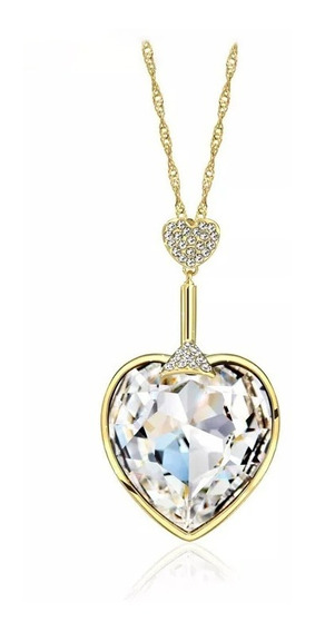 Precioso Collar Corazón De Swarovski Oro 14k Lam + Estuche