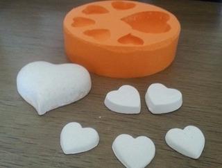 Forma Molde Silicone 6 Corações Diversos