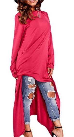 Suéter Manga Longo Mulheres Irregular Alto Baixo Tops Capuz