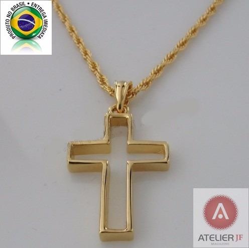 Corrente Cordão Trançado Crucifixo Vazado Jesus 2 Banho Ouro