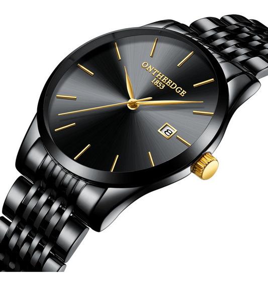 Relógio De Quartzo Com Pulseira De Aço Inoxidável Preto