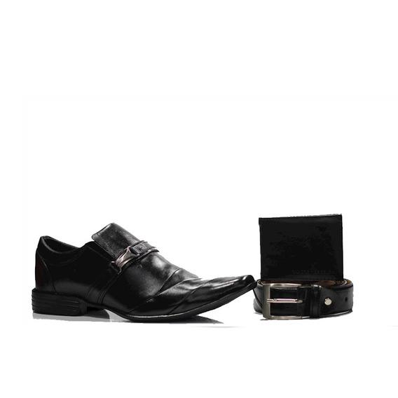 Sapato Social Premier Preto + Carteira Gr01 Preta + Cinto