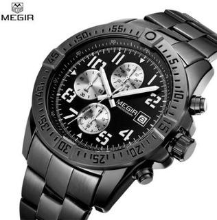 Reloj Megir 2030 Negro Deportivo Cronógrafo Caja
