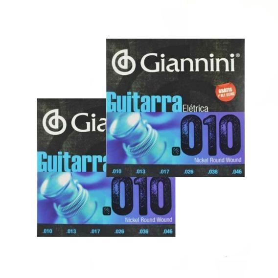 Kit 2 Encordoamento Para Guitarra Giannini Niquel 010 + Nf