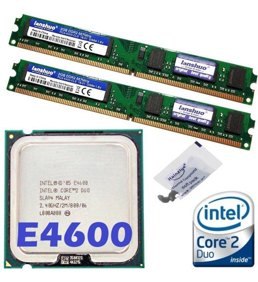 Kit Memória Ddr2 4gb (2x 2gb) + Cpu Core 2 Duo E4600 2.4 Ghz