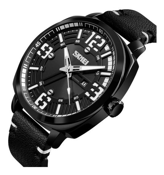 Relógio Masculino Skmei 1351 Pulseira De Couro Analógico Casual Social Preto Importado Promoção Barato Com Nota Fiscal