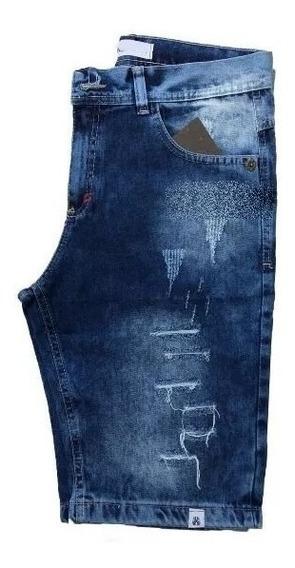 Bermuda Shorts Jeans Marrom Rasgada Desfiada Lançamento Dest