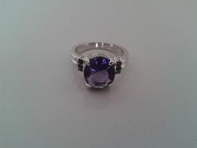 Anel Pedra Ametista Purple Folhado A Prata (17,5 Mm) Nº 15