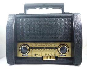 Radio Retrô Vintage Inova Rad-279z Usb Sd Recarregável Biv.