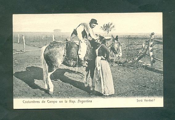 Costumbres Del Campo . Antigua Tarjeta Postal . Tipo Uno .
