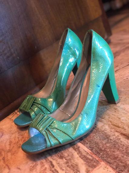 Zapatos Bottero Color Verdes Taco Medio 39/40